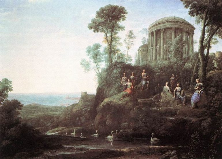 LORRAIN. Claude. Apolo e as Musas no Monte Helion (Parnaso), óleo sobre tela, 98 x 135 cm, 1680 - Museum of Fine Arts (Boston, United States)