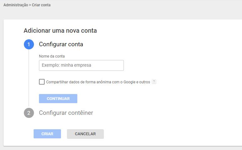 Criar Contêiner Gerenciador de Tags do Google - Tríscele